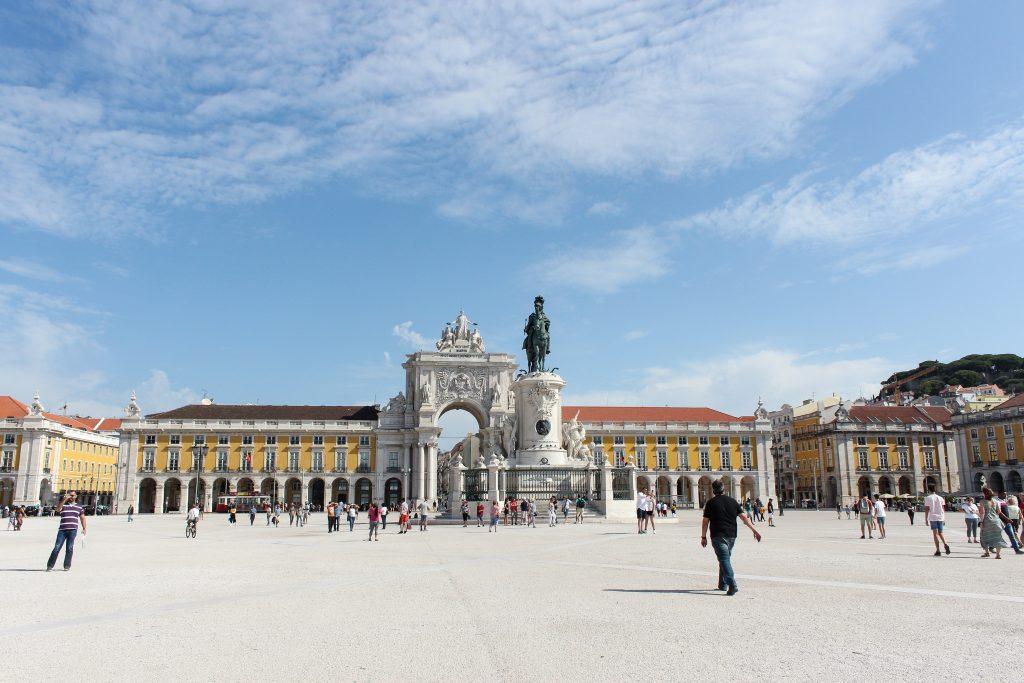 A busy plaza, Praça do Comércio, in Lisbon